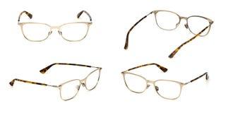 Transparente material del metal determinado de los vidrios aislado en el fondo blanco Vidrios del ojo de la oficina de la moda de foto de archivo libre de regalías