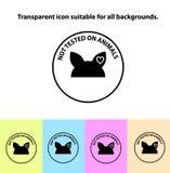 Transparente não testado no ícone do sinal dos animais Fotografia de Stock