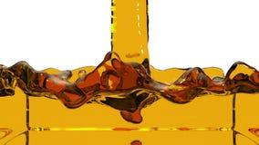 Transparente orange Flüssigkeit füllt den Schirm auf, lokalisiert auf dem weißen Alphakanal, der wie luma eingeschlossen ist, das lizenzfreie abbildung