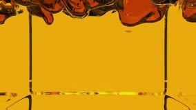 Transparente orange Flüssigkeit füllt den Schirm auf, lokalisiert auf dem weißen Alphakanal, der wie luma eingeschlossen ist, das vektor abbildung