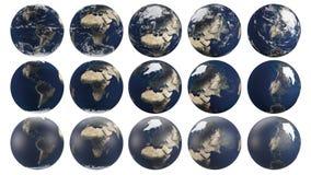 Transparente Planetenerde von den mehrfachen Winkeln, die auf verschiedene Kontinente sich konzentrieren Stockbilder