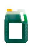 Transparente reinigende Plastikflasche lokalisiert auf Grau, mit blan Lizenzfreies Stockbild
