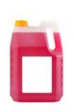 Transparente reinigende Plastikflasche lokalisiert auf Grau, mit blan Stockfoto