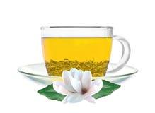 Transparente Schale Blumen des grünen Tees und des Jasmins lokalisiert Stockbilder