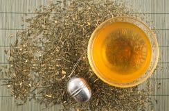 Transparente Schale grüner Tee Stockfotos