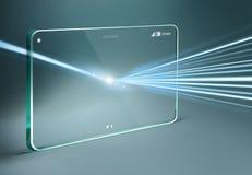 Transparente Tablette mit Lichteffekt Stockbilder