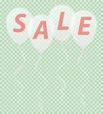 Transparente weiße Ballone mit dem Aufschriftverkauf vector illu Stockfotografie