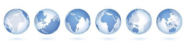 Transparente Weltkugel realistischer Bereich 3D mit USA asiatisch-europäisch, Kreisglasplaneten und Weltkarte Vektor lokalisiert lizenzfreie abbildung