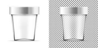 Transparenter Behälter mit Metallkappe für Eiscreme, Nahrung oder cosm stock abbildung