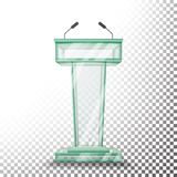 Transparenter Glaspodium-Tribüne-Vektor Podiums-Stand mit Mikrophonen Auf transparenter Hintergrundillustration Stockfoto
