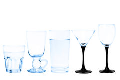 Transparenter Glassatz lokalisiert auf weißem Hintergrund Lizenzfreie Stockbilder