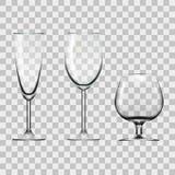 Transparenter leerer Wein, Champagne And Cognac Glass Isolated auf Weiß Stockfotografie