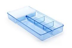 Transparenter Plastikspeicherbehälter auf weißem Hintergrund Lizenzfreies Stockbild