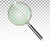 Transparenter realistischer Vektor des Vergrößerungsglases lizenzfreies stockbild