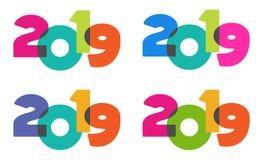 Transparenter Text bunte spielerische 2019 des Spaßes des guten Rutsch ins Neue Jahr Stockbild