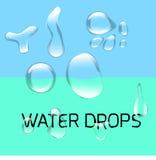 Transparenter Wassertropfen eingestellt auf grün-blaues stock abbildung