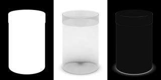 Transparenter zylinderförmiger Kasten für Waren mit Abdeckung Lizenzfreie Stockfotos