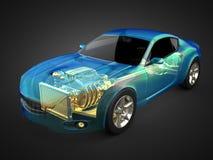 Transparentes Autokonzept mit sichtbarer Maschine und Getriebe Stockfotos