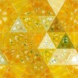 Transparentes Buntglas des polygonalen dreieckigen Design-Effektes des Hintergrundes mit Löwenzahnkaleidoskop vektor abbildung