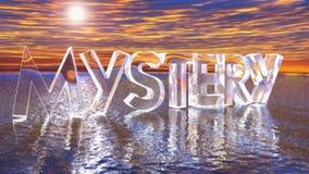 Transparentes de vidro do MISTÉRIO escrevem no mar - vídeo da rendição 3D ilustração royalty free