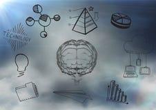 Transparentes Gehirn mit schwarzem Geschäft kritzelt gegen bewölkten Himmel Stockbild