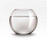 Transparentes glänzendes Glas-Fishbowl Aquarium Vektor-realistisches Browns mit Wasser ohne Fische auf weißem Hintergrund lizenzfreie abbildung