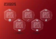 Transparentes Glas des Hexagons für Geschäftsdesign, infographics templ Lizenzfreie Stockfotografie