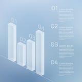 Transparentes Glasbalkendiagramm auf einem unscharfen Hintergrund Stockfotografie