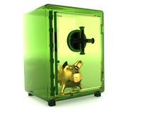 Transparentes grünes Safe Stockfotografie