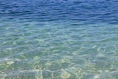 Transparentes haarscharfes Meerwasser und Kiesel, SommerMeerwasserhintergrund lizenzfreie stockfotografie