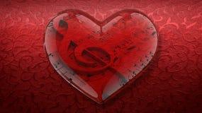Transparentes Herz mit Violinschlüssel und Noten auf rotem Hintergrund Stockfoto
