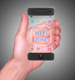 Transparentes intelligentes Mobiltelefon Stockbilder