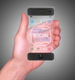 Transparentes intelligentes Mobiltelefon Stockfotos