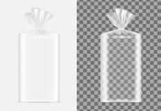 Transparentes leeres Verpacken für Brot Kissen für Kaffee, Bonbons stock abbildung
