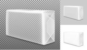 Transparentes leeres Verpacken lokalisiert auf weißem Hintergrund Kissen für Seife, Kaffee, Gewürze, Bonbons, Plätzchen und Mehl lizenzfreie abbildung