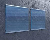 Transparentes Schild auf Betonmauer, verspotten herauf Art der Illustration 3d, Symbol, die Schablone, die, herauf, die Wand tran Stockbild