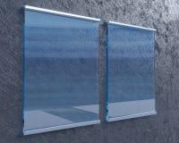 Transparentes Schild auf Betonmauer, verspotten herauf Art der Illustration 3d, Symbol, die Schablone, die, herauf, die Wand tran Lizenzfreies Stockbild
