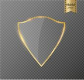 Transparentes Schild Sicherheitsglas-Ausweis-Ikone Privatleben-Schutz Banner Schutzschildkonzept Dekorations-sicheres Element Lizenzfreie Stockbilder