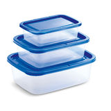 Transparentes Tupperware mit blauer Abdeckung Lizenzfreie Stockbilder