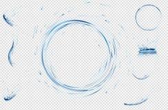 Transparentes Wasser spritzt, Tropfen, Kreis und Krone vom Fallen in das Wasser in den hellblauen Farben Abbildung des Vektor 3d  Lizenzfreies Stockbild