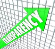 Transparenz-Pfeil-Offenheits-Geschäfts-direkte Mitteilung Stockfotografie