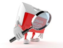 Transplant box character looking through magnifying glass. Isolated on white background. 3d illustration Royalty Free Stock Images