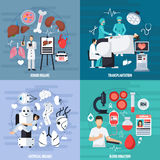 Transplantation 2x2 Design Concept. Set of donor and artificial organs blood donation and transplant operation compositions flat vector illustration Royalty Free Stock Image