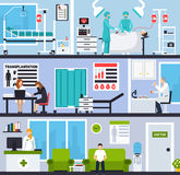 Transplantation Horizontal Compositions. With patients and doctors in hospital interiors and operating room flat vector illustration Royalty Free Stock Image