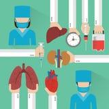 Transplantation Human organ design flat with surgeon Royalty Free Stock Images