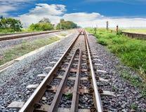 Transpoation usado del cielo ferroviario y azul Fotografía de archivo