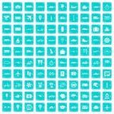 100 transportów publicznych ikon ustawiają grunge błękit Zdjęcie Stock