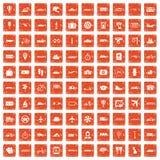 100 transportów publicznych ikon ustawiają grunge pomarańcze Zdjęcia Royalty Free