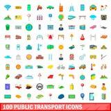 100 transportów publicznych ikon ustawiających, kreskówka styl Fotografia Stock
