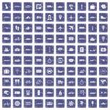 100 transportów publicznych ikon ustawiają grunge szafir Zdjęcia Royalty Free
